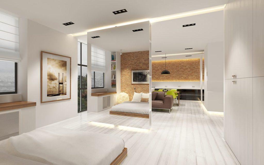 Квартира студия со спальней планировка фото