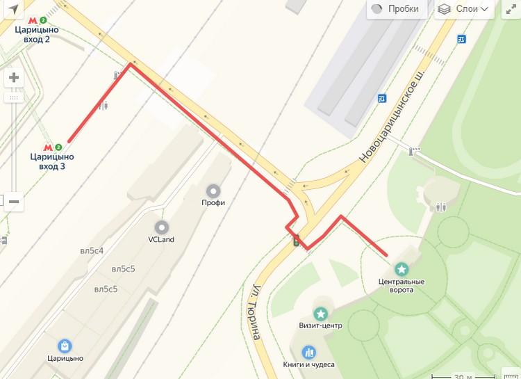 Парк Царицино на Яндекс карте
