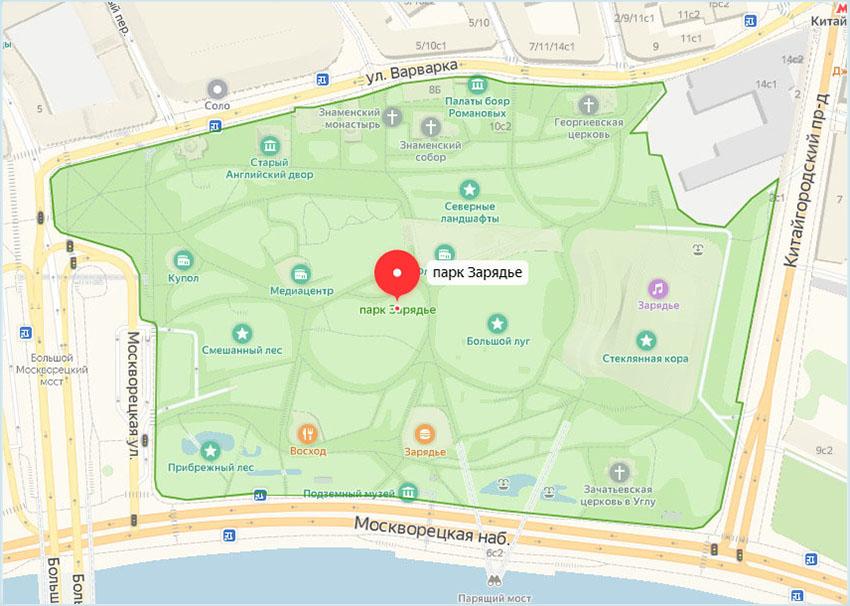 Парк «Зарядье» на карте и автобусные остановки вокруг