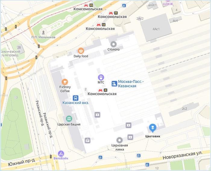 Станции метро и автобусные остановки у Казанского вокзала