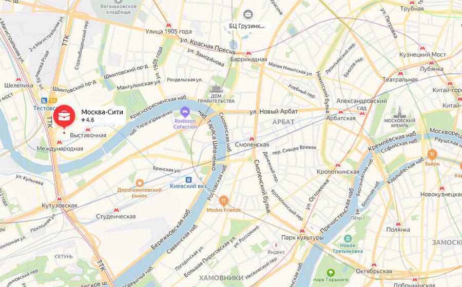 Москва-Сити на карте