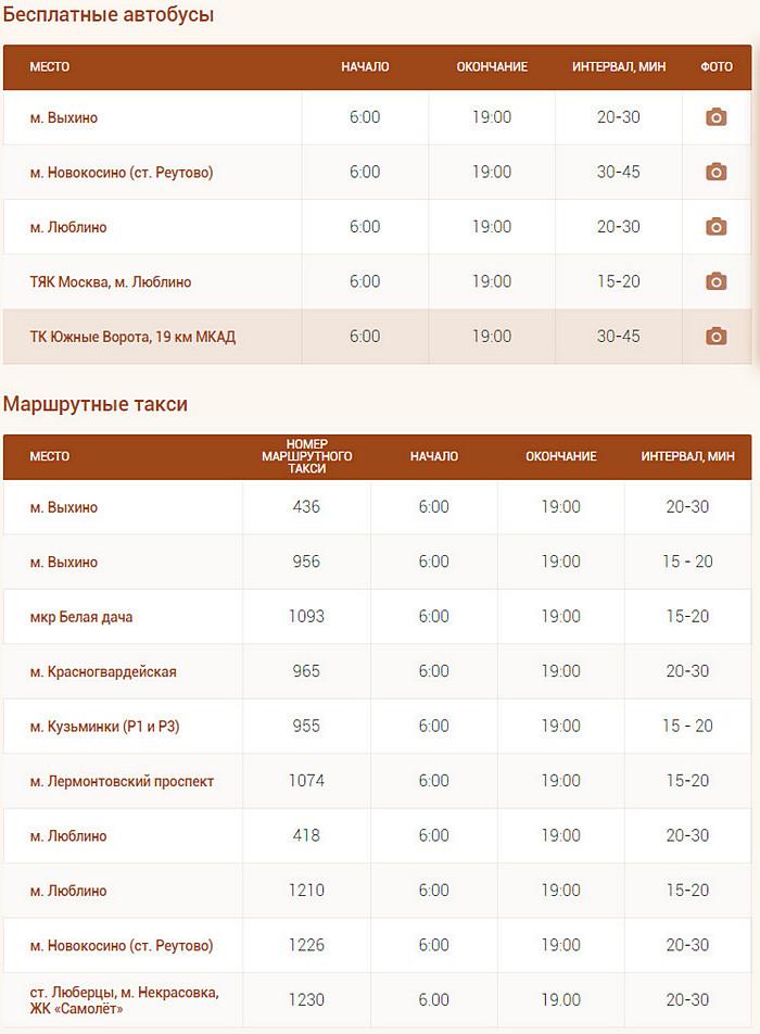 Расписание бесплатных автобусов до рынка Садовод