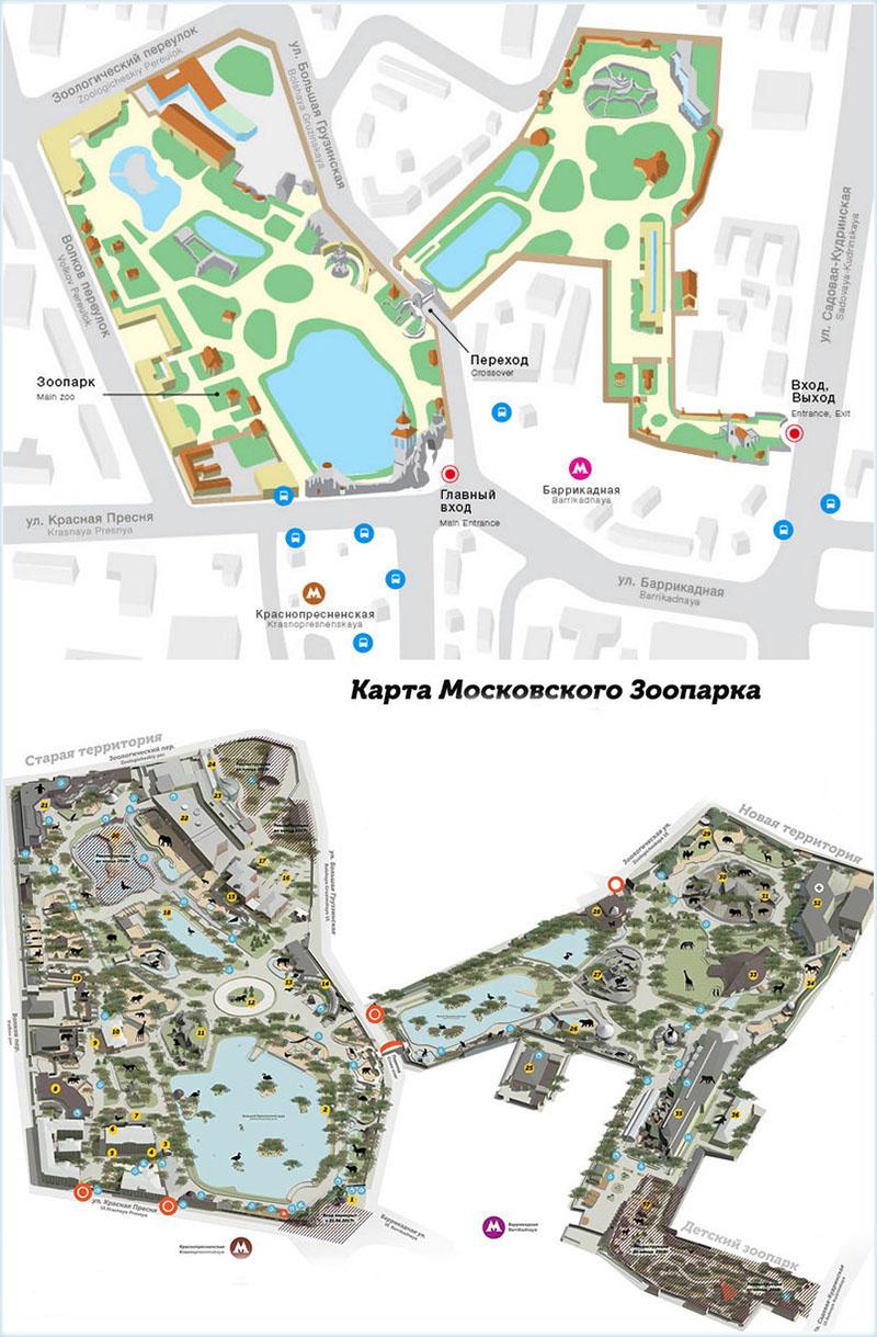 Схема зоопарка и ближайшие станции метро к нему