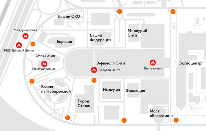 Башни Москва-Сити и станции метро рядом