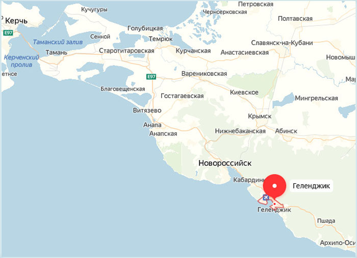 Город Геленджик на карте