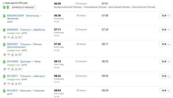 Примерное расписание электричек до Курского вокзала