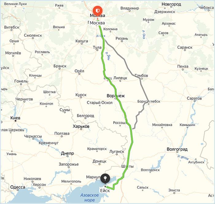 Маршрут Москва - Ейск на карте