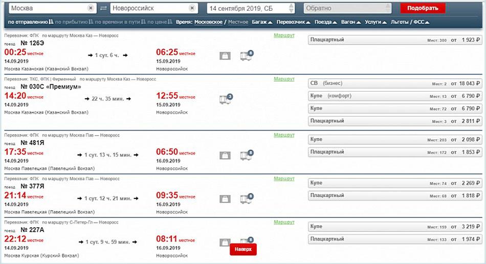 Расписание поездов из Москвы в Новороссийск