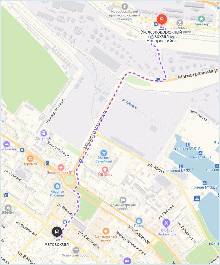 Пеший маршрут между вокзалами Новороссийска