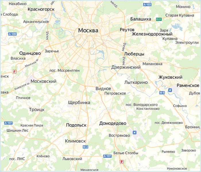 Расположение Подольска на карте