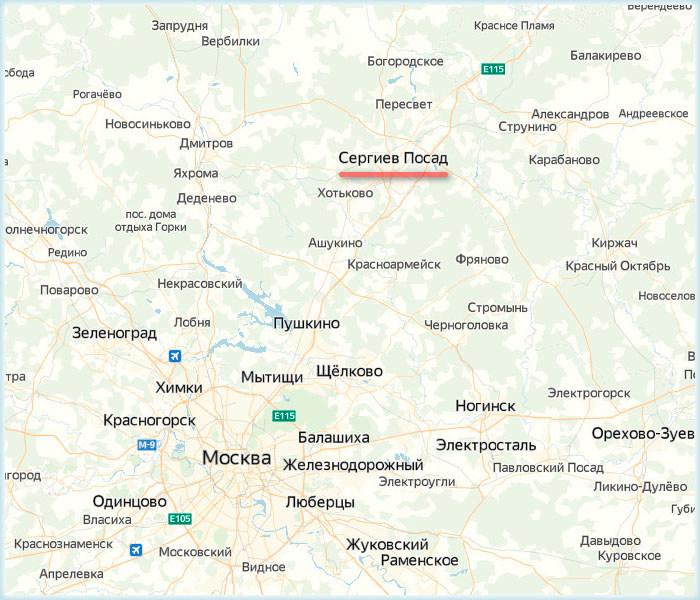 Сергиев Посад на карте