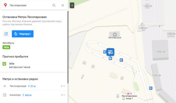 Расположение остановки автобусов на станции «Лесопарковой»