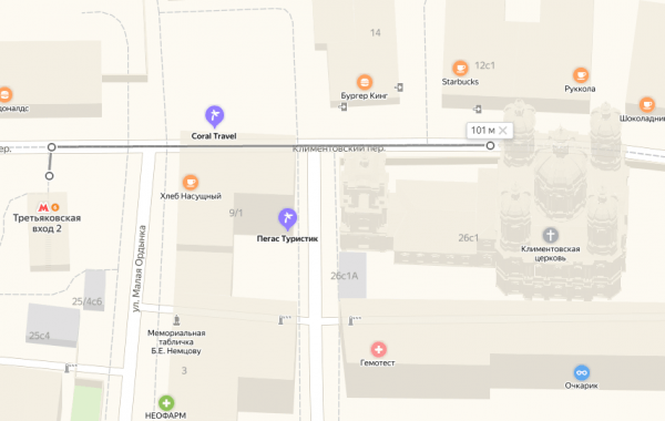 Метро «Третьяковская» и Храм святого Климента на карте