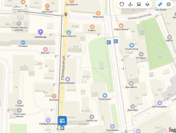 Остановка «Старый Толмачёвский переулок» на карте»