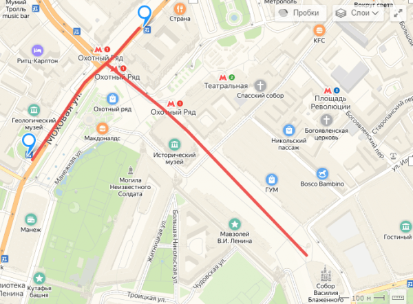 Пеший маршрут от остановки «Манежная площадь