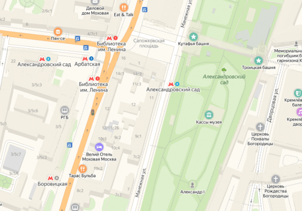 Станции «Арбатская», «Боровицкая», «Александровский сад», Библиотека им.Ленина» и Кутафья башня на карте