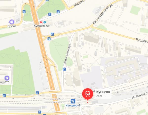 Метро «Кунцевская» и платформа Кунцево на карте Москвы