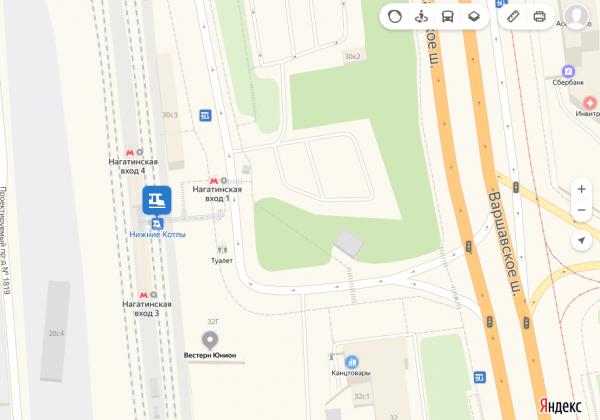 Станция метро «Нагатинская» и железнодорожная платформа Нижние Котлы на карте Москвы