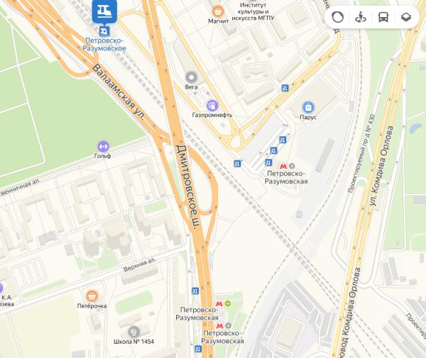 Платформа Петровско-Разумоское и станция метро «Петровско-Разумовская» на карте