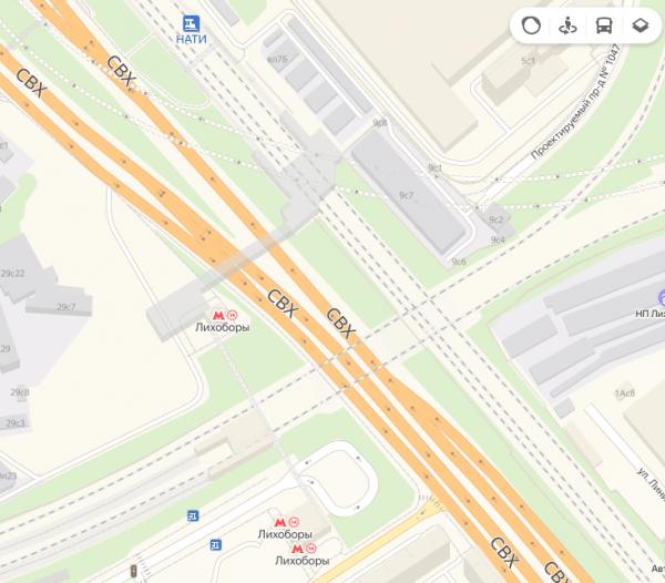 Платформа Нати и станция МЦК «Лихоборы» на карте