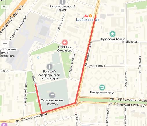 Маршрут от метро «Шаболовская» до монастыря на карте Москвы