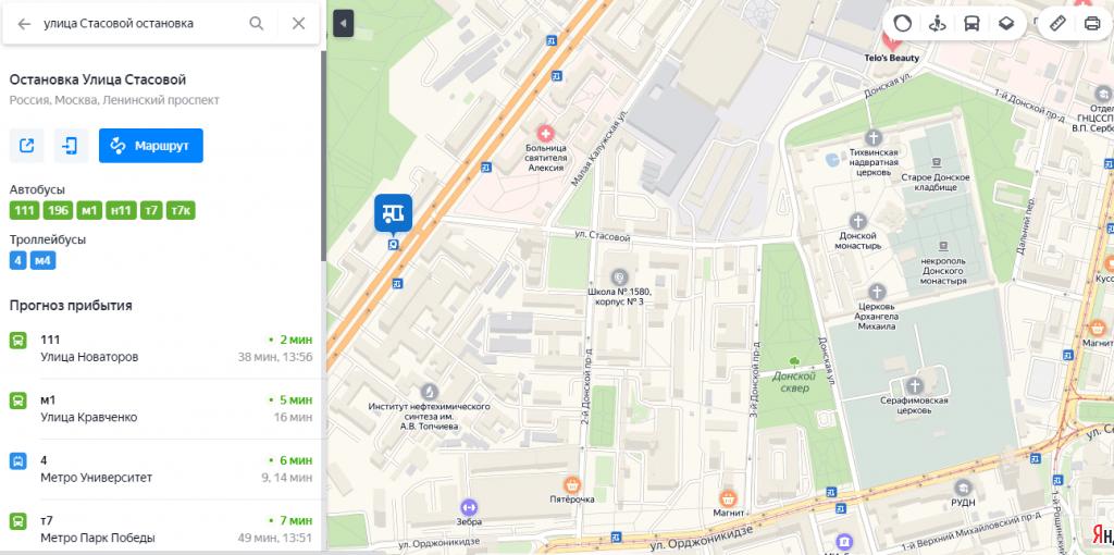Остановка «Улица Стасовой» и Донская обитель на карте Москвы