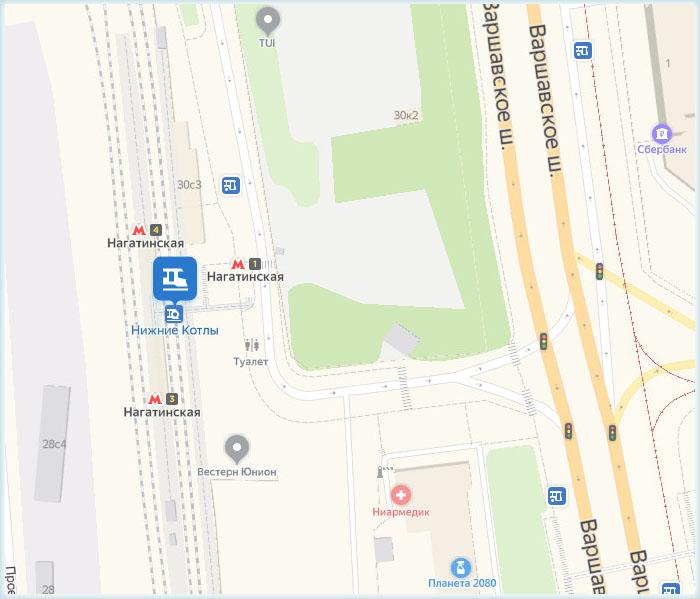 Станция метро «Нагатинская» и железнодорожная платформа Нижние Котлы