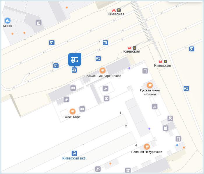 Автобусные остановки рядом с Киевским вокзалом