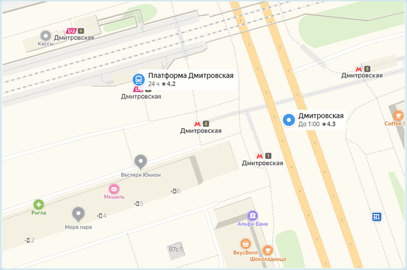 пл. и станция Дмитровская на карте Москвы