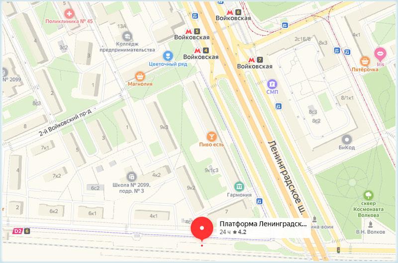 пл. Ленинградская и станция «Войковская» на карте Москвы