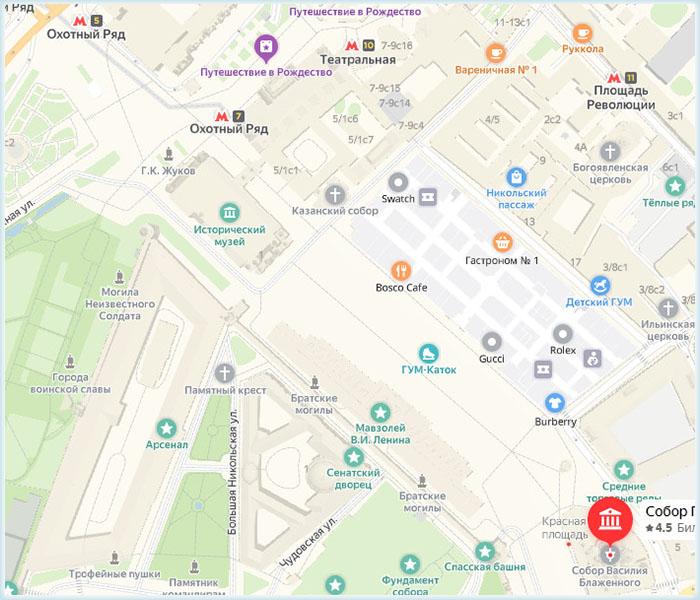 Расположение ближайших станций на карте у Храма Василия Блаженного