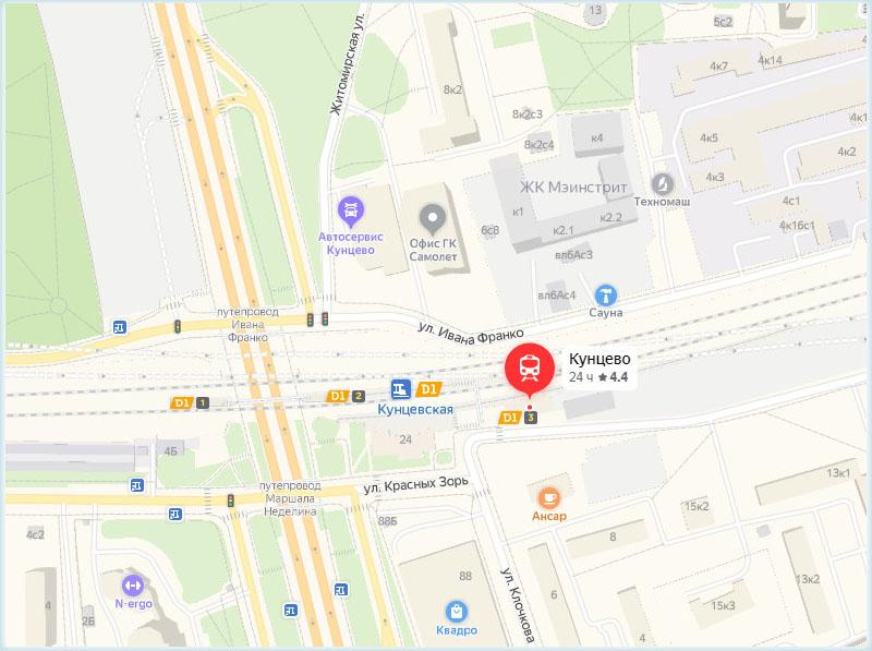 Платформа Кунцево на карте Москвы