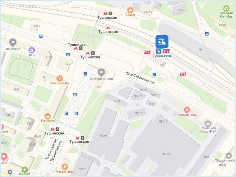 Метро «Тушинская» и платформа Тушино на карте Москвы