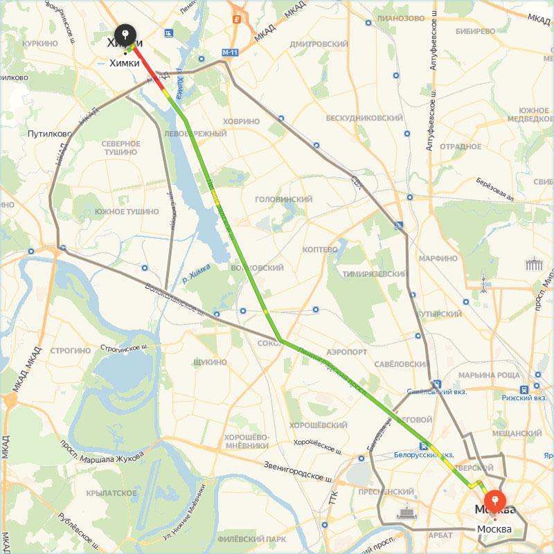 Город Химки на карте Яндекс