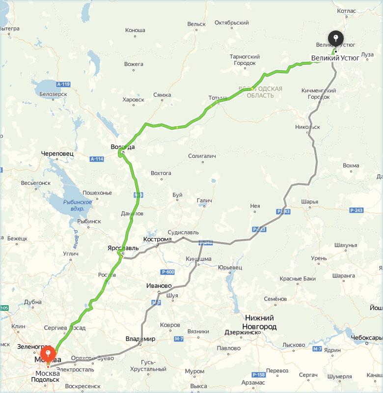 Великий Устюг на карте относительно Москвы