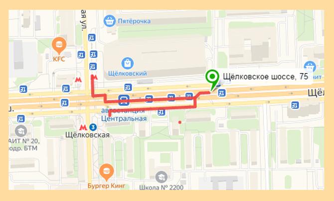 Кассы автовакзала Щелковская на карте