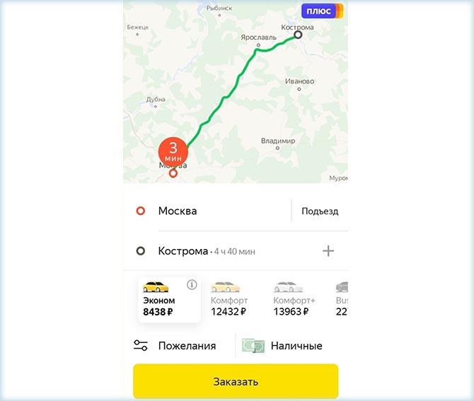 Стоимость такси до Костромы