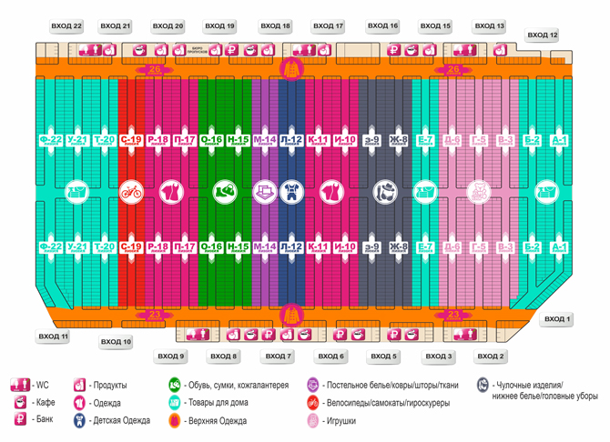 Схема рынка «Южные ворота»