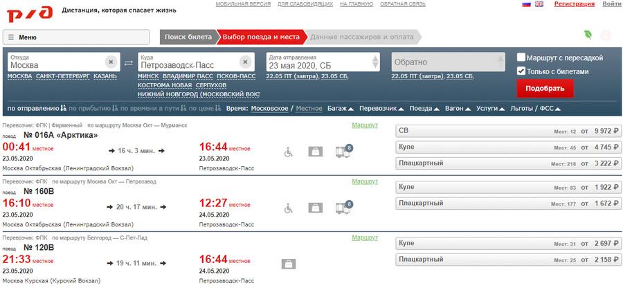 Расписание поезда Москва Петрозаводск