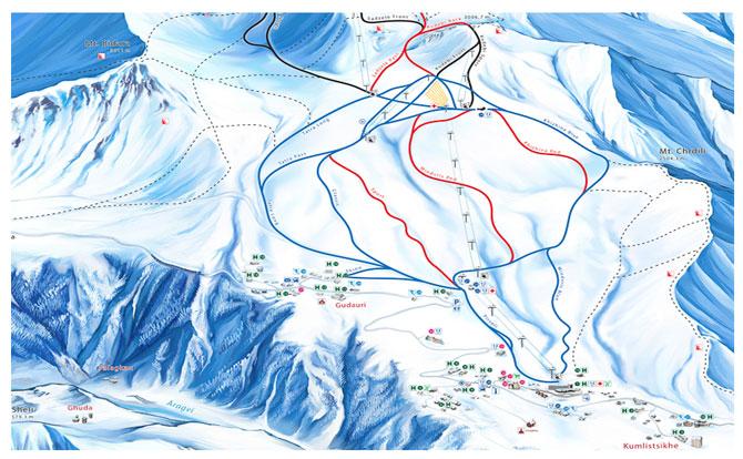 Схема лыжных маршрутов в Гадаури