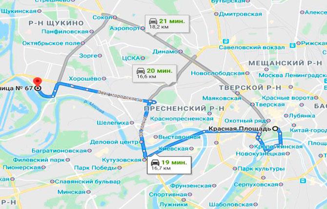 Маршрут на авто до больницы №67 в Москве