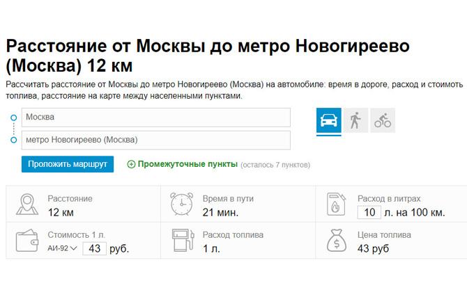 Расстояние от Москвы до метро Новогиреево