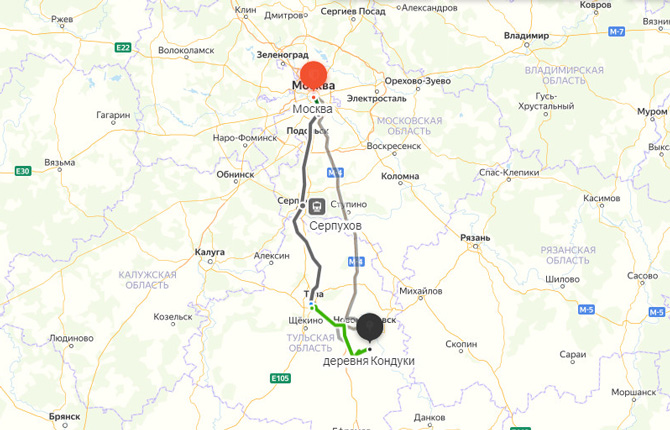 Маршрут на карте Москва - Кондуки
