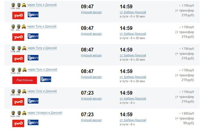 Расписание поездов Москва - Кондуки