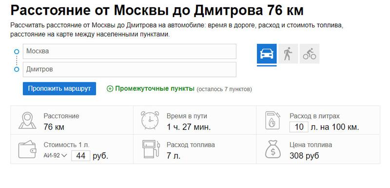 Расстояние от Москвы до Дмитрова