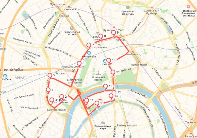 Экскурсии по Москве на двухэтажном автобусе марщрут